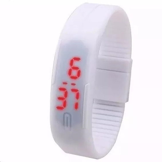 Relógio Silicone Led Digital Sport Bracelete Pulseira Branco
