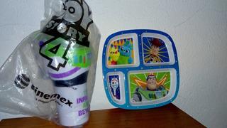 Vaso Buzz Light Year Toy Story 4 Cinemex + Plato De Regalo.
