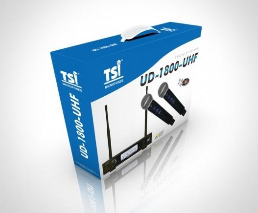 Microfone S/ Fio Tsi Ud-1800 Uhf Duplo De Mão