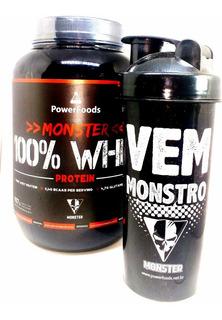 Combo Monster 100% Whey Protein Morango 907g + Coqueteleira