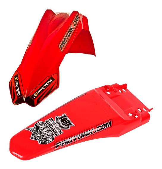 Kit Paralama Dianteiro Traseiro Mx2 Pro Tork Trilha Vermelho