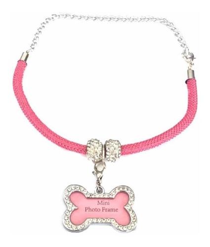 Coleira Colar Cachorro Gato Placa Rosa Para Identificação