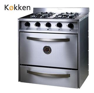 Cocina Industrial Kokken 76 Cm 4 Hornallas C/parrilla Inox
