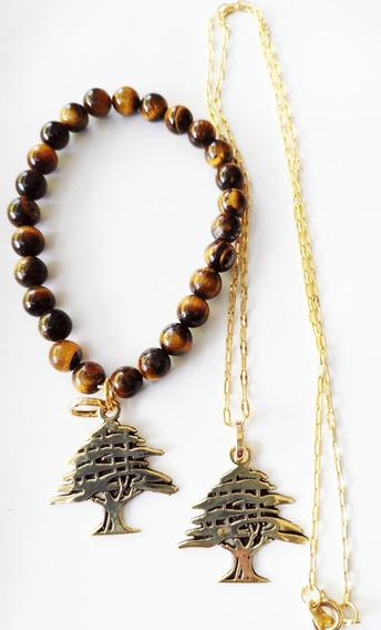 Arbol Libanes Pulsera Con Ojo De Tigre Y Collar Chapa De Oro