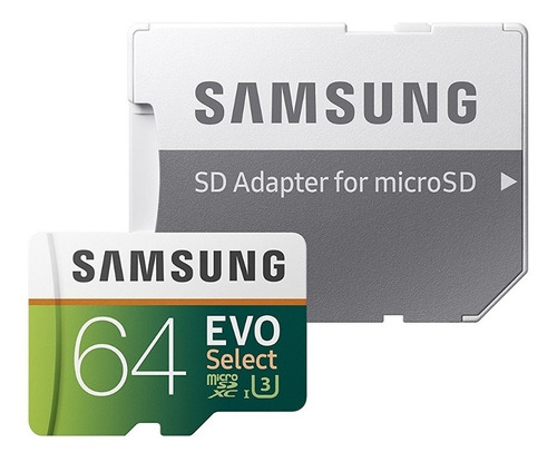 Memoria Micro Sd Xc Samsung 64 Gb Clase 10 U3 100mb/s 4k Uhd