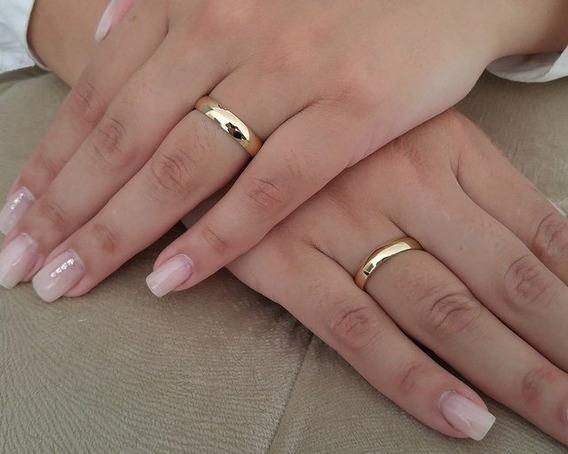 Par Alianças Casamento Noivado Cor Ouro 4mm Gravação+anel
