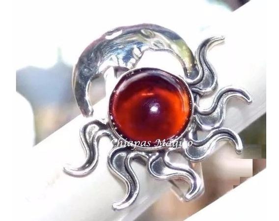 Hermoso Anillo De Ámbar Rojo & Plata Ley #8.7 / Eclipse4