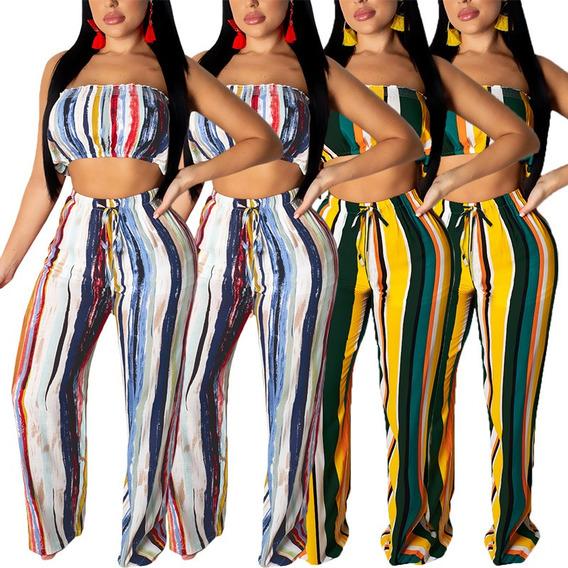 Mulheres Cropped Top Calças Set Listrado Impressão Barra De