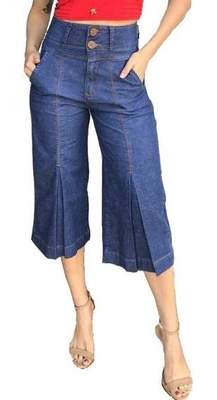 Calça Verbo Jeans Pantacourt Com Pregas Azul
