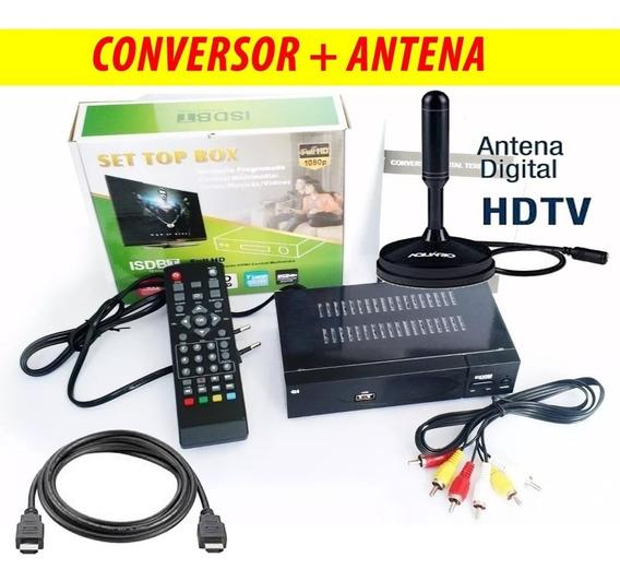Kit Conversor Tv Digital + Antena Digital Uhf Interna