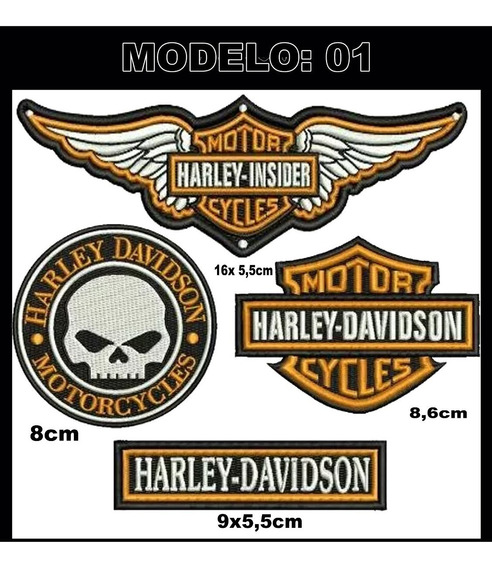Patch Bordado Da Harley Davidson Kit Com 4 Pças C/ Termo