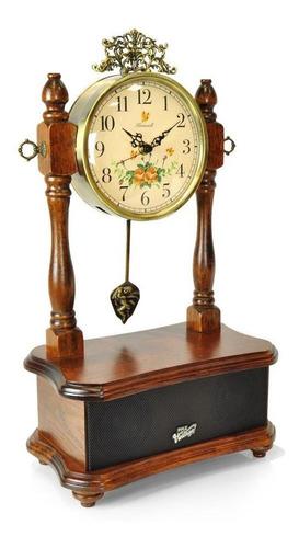 Pyle 2-en-1retro Estilo Clásico Reloj De Madera & Siste