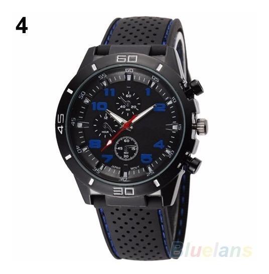 Relógio Sport Mostrador Preto Com Azul Pulseira Borracha