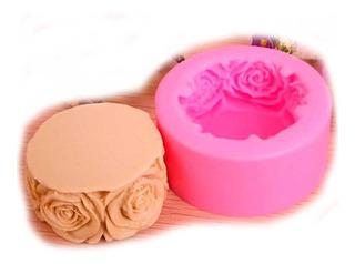 Molde Silicon Circulo Rosas Flores - Velas Reposteria Jabon