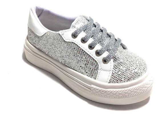 Zapatillas Niñas C Glitter Brillo Plataforma Urbanas (bris)