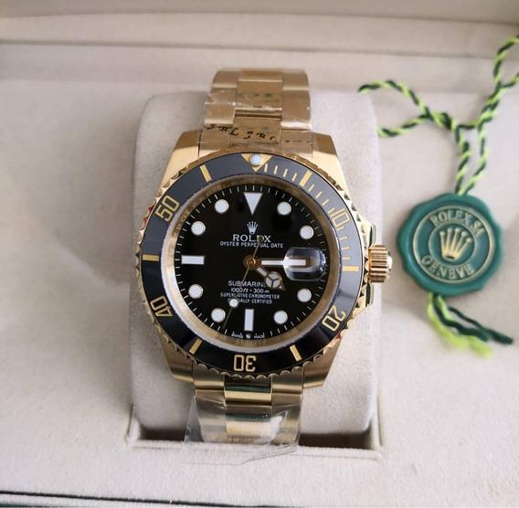 Relógio Masculino Rolex A Prova Dágua Dourado Com Preto