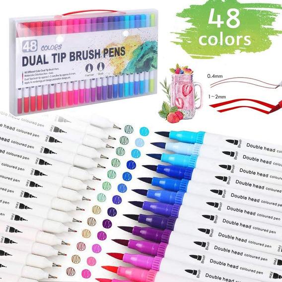Kit De Marcadores Doble Punta, 48 Colores Acuarela