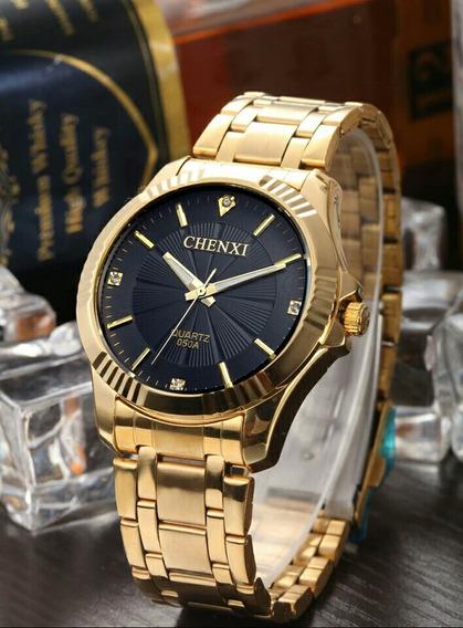 Relógio De Pulso Feminino Dourado Quartz Moda Feminina