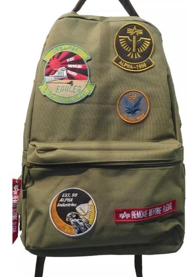 Mochila Militar Alpha Industries Con Parches Originales