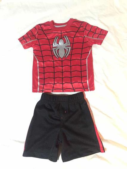 Remera Y Short Hombre Araña -spiderman Marvel - Importado !