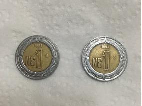 2 Monedas De 1 Pesos Mexicanos De 1993. Con Letra N$