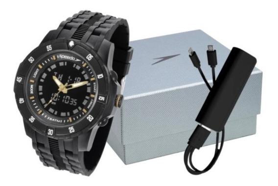Relógio Speedo Caixa E Pulseiras De Plastico Preto