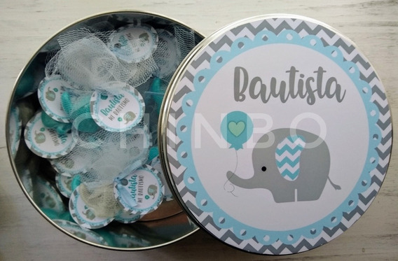 Lata Personalizada+jabones Elefantes Baby Shower Nacimientos