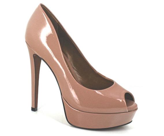Sapato Social Feminino Peep Toe Verniz Plataforma Salto 14cm