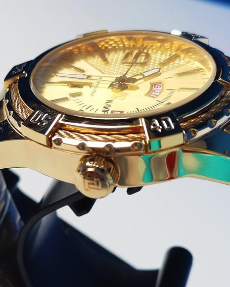 Relógio Naviforce 9117 Dourado Aço Inox Prova D Água 30 Mt