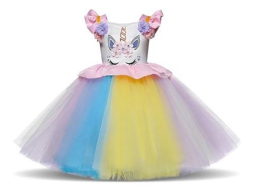 Imagem 1 de 6 de Vestido Aniversário Infantil Unicórnio Arco Iris Tutu