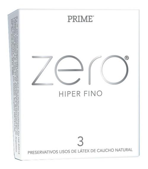 Preservativos Prime Zero Hiper Fino X3 Unidades El Mas Fino