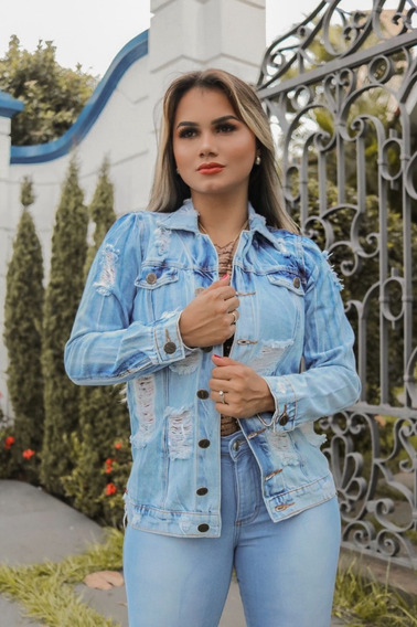 Jaqueta Casaco Jeans Feminina Rasgada Premium Luxo