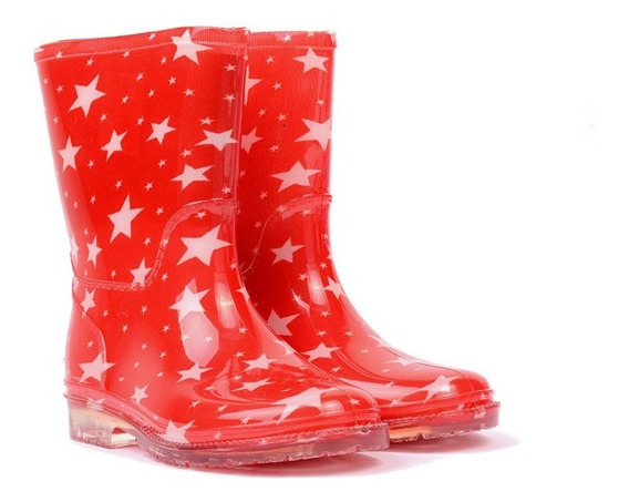 Bota De Lluvia Storm Para Niña Roja Estampado De Estrellas