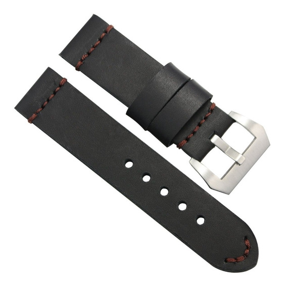 Pulseira Para Relógio 24mm Couro Preto Vintage Cost Marrom