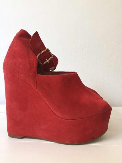 Zapatos Topshop Rojo Originales Gamuza T 39