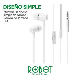 Auriculares Hd Estereo Robot Re-201 Blancos