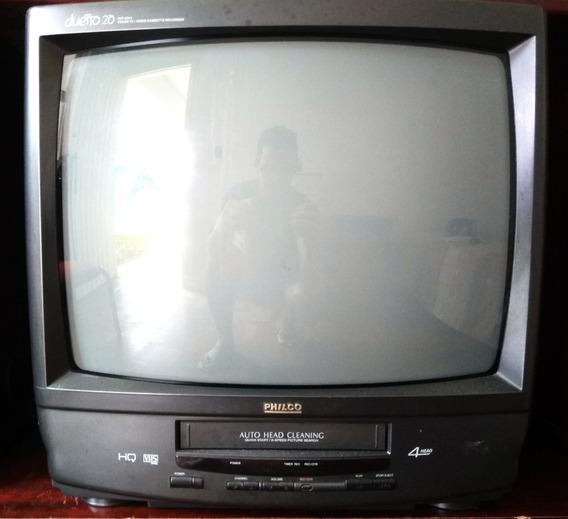 Televisão Tv Philco Duetto 20 Com Video Cassete (defeito)