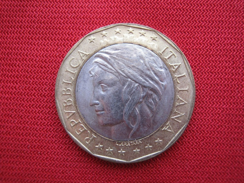 Imagen 1 de 2 de Italia  1000 Liras 1998 Bimetalica