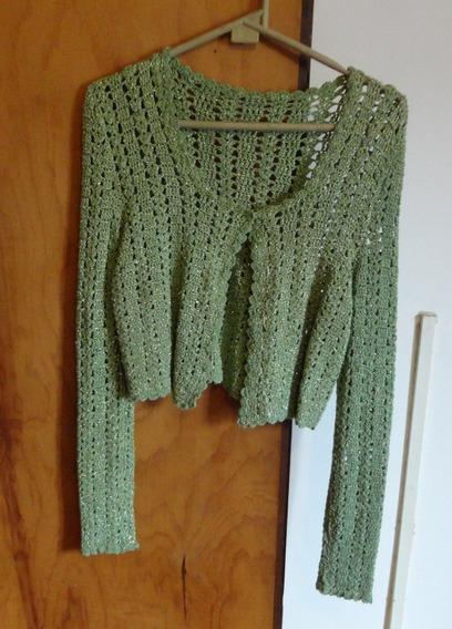 Casaquinho Curto Em Crochê Verde Com Fios Dourados Tam P