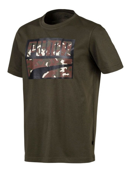Playera Puma Rebel Camo Filled Tee Verde Hombre 830555