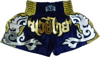 Short Calção De Muay-thai; Azul Marinho/dourado (ref.018)