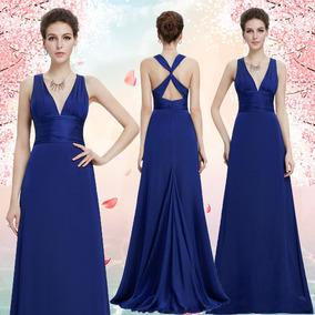 df018a0de7198 Vestido De Festa Longo Cetim Decote V - Vestidos Femeninos Azul com ...