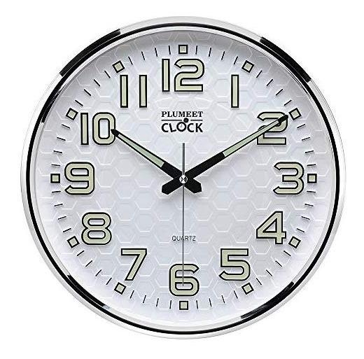 Reloj De Pared Silencioso Y Luminoso Plumeet Luz Nocturna