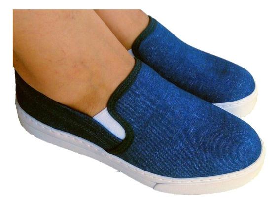 Tênis Feminino Slip On Casual Iate Jeans Flatform Promoção