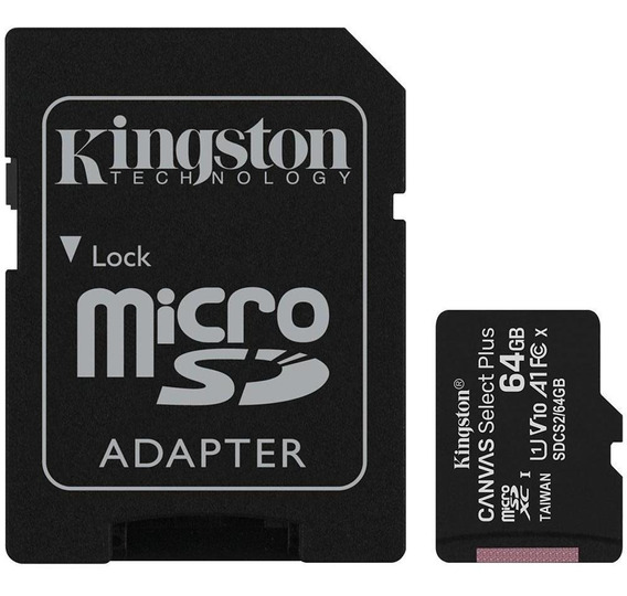Cartão De Memória Kingston 64gb Classe 10 100mb/s Microsd