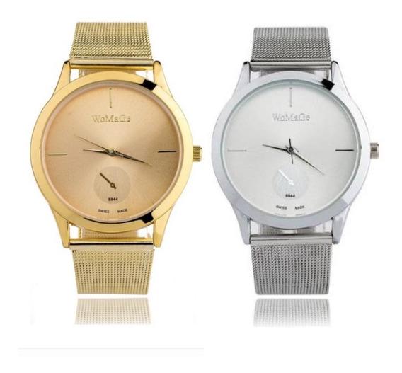 Kit 2 Relógios Feminino Dourado Com Prata
