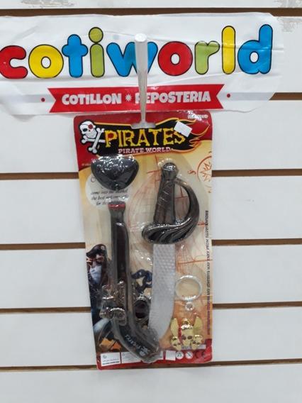 Set De Piratas ( Espada, Arma,parche Y Collar)