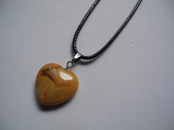 Colar Coração Gargantilha Pedra Natural Marrom Bege Cordão