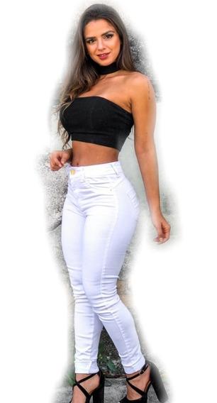Promoção Calça Skinny Branca Hot Pants Feminina Top
