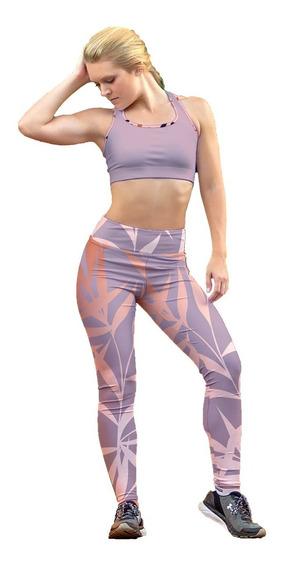 Leggin Dama Sublimado Licra Hojas En Colores Gym Bi-estrech